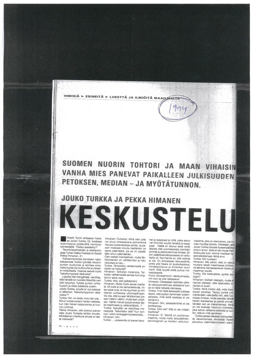 Image-lehtileike 1994. Ote Silja Lanas Cavadan kirjoituksesta.